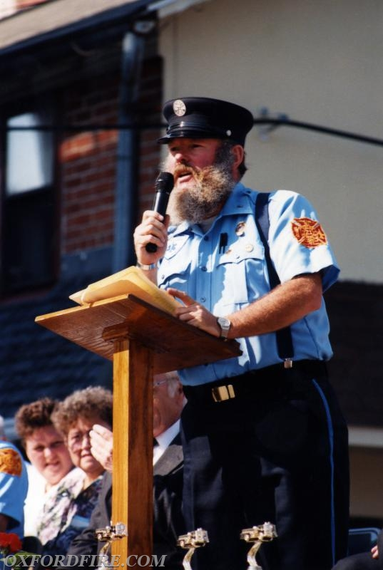 Joe as the Master of Ceremonies of the Joint Housing with the West Grove Fire Company 1993.